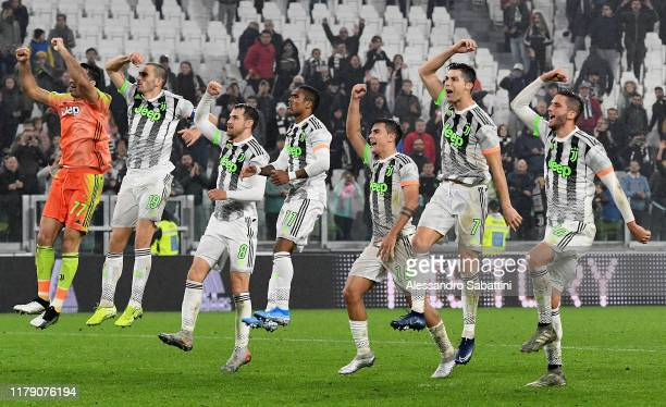Juventus players celebrate the victory after the Serie A match between Juventus and Genoa CFC at on October 30 2019 in Turin Italy