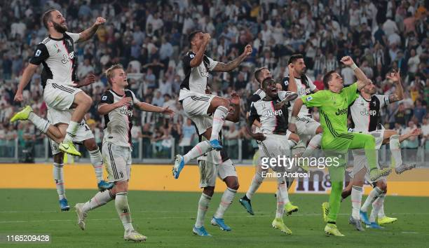 Juventus players celebrate the victory at the end of the Serie A match between Juventus and SSC Napoli at Allianz Stadium on August 31 2019 in Turin...