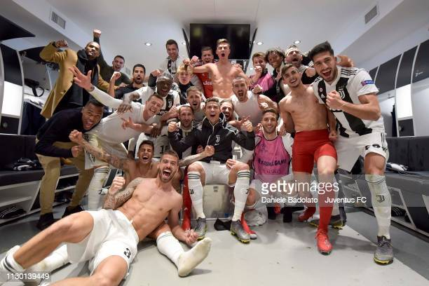 Juventus players celebrate the victory at the end of the UEFA Champions League Round of 16 Second Leg match between Juventus and Club de Atletico...