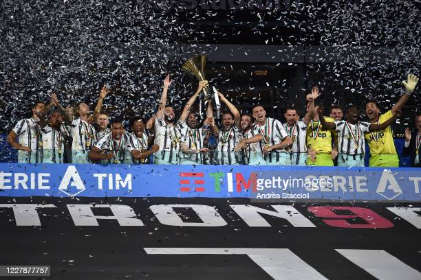 Juventus players celebrate the victory of the italian championship at the end of the Serie A football match between Juventus FC and AS Roma. AS Roma...