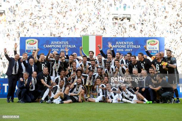 Juventus players celebrate the victory of the Italian Serie A 'Scudetto' at the end of the Serie A football match between Juventus FC and FC Crotone...