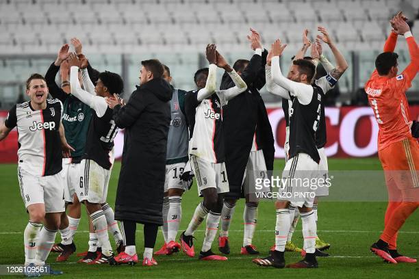 Juventus' players celebrate their victory over Inter Milan at the end of the Italian Serie A football match Juventus vs Inter Milan, at the Juventus...
