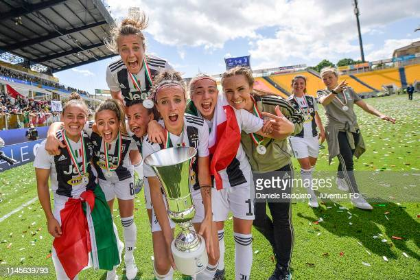 Juventus players celebrate their victory with the trophy after the Women Coppa Italia Final match between Juventus Women and ACF Fiorentina Stadio...
