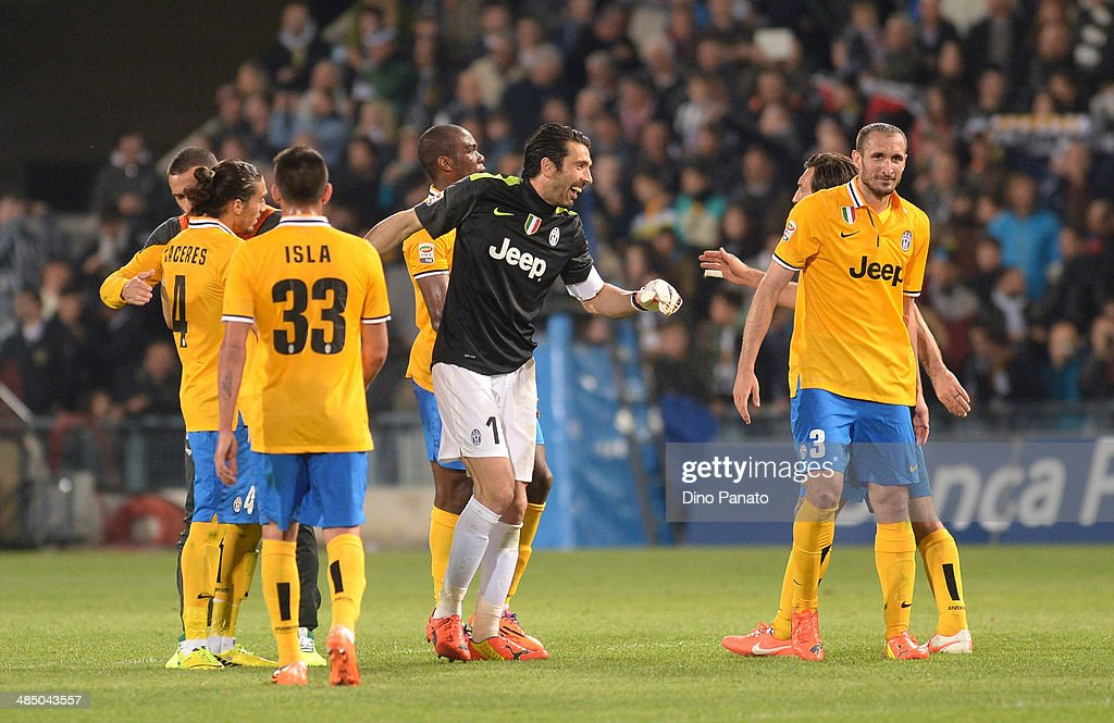 Juventus players celebrate victory after the Serie A match between Udinese Calcio and Juventus at Stadio Friuli on April 14, 2014 in Udine, Italy.