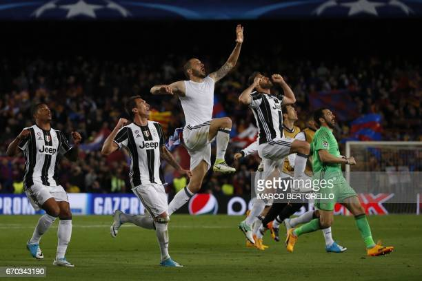 TOPSHOT Juventus players celebrate winning after the UEFA Champions League quarterfinal second leg football match FC Barcelona vs Juventus at the...