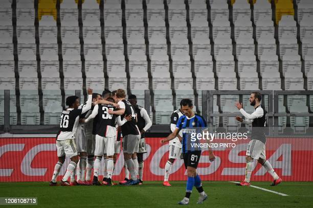 Juventus players celebrates after scoring their opener during the Italian Serie A football match Juventus vs Inter Milan, at the Juventus stadium in...