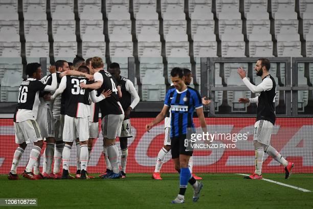 Juventus players celebrates after scoring their opener during the Italian Serie A football match Juventus vs Inter Milan, at the Juventus stadium in...