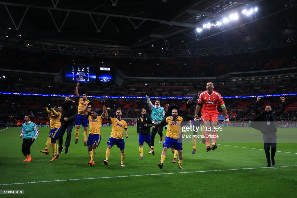 Juventus players celebrates their win during the UEFA Champions League Round of 16 Second Leg match between Tottenham Hotspur and Juventus at Wembley Stadium on March 7, 2018 in London, United Kingdom.