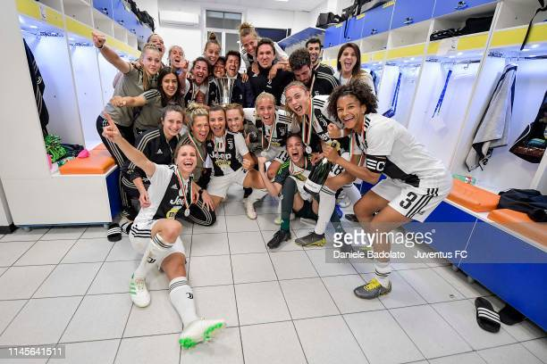 Juventus players celebrating in the dressing room after the Women Coppa Italia Final match between Juventus Women and ACF Fiorentina Stadio Ennio...