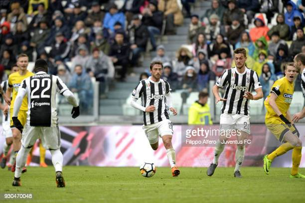 Juventus players Claudio Marchisio and Daniele Rugani in action during the serie A match between Juventus and Udinese Calcio on March 11 2018 in...