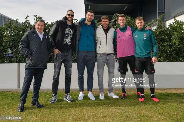 Juventus players Daniele Rugani and Aaron Ramsey meet Lube Volley players Osmany JuantorenaSimone Anzani Bruno de Rezende and coach Ferdinando De...