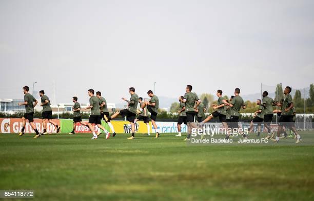 Juventus players during a Juventus Training Session at Juventus Center Vinovo on September 26 2017 in Vinovo Italy