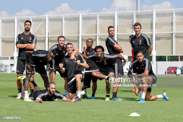 Juventus players during a training session at JTC on August 21 2019 in Turin Italy