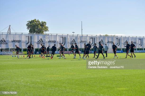 Juventus players during the UEFA Champions League training session at JTC on October 27 2020 in Turin Italy