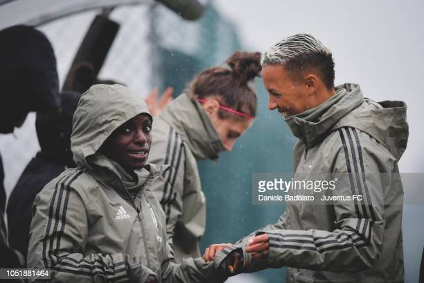 Juventus players Eniola Aluko and Lianne Sanderson during a Juventus Women training session at Juventus Center Vinovo on October 11 2018 in Vinovo...