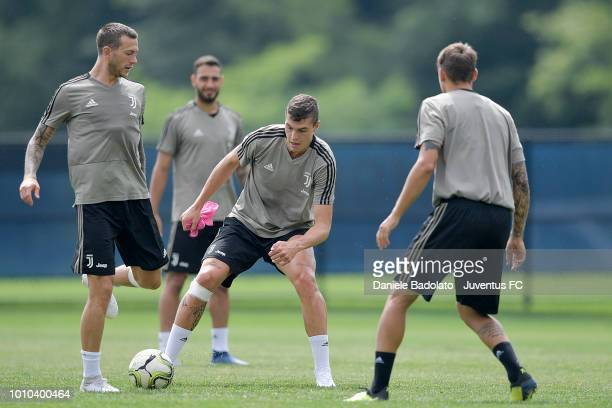 Juventus players Federico Bernardeschi and Andrea Favilli during a Juventus training session at Pingry School on August 3 2018 in Basking Ridge New...