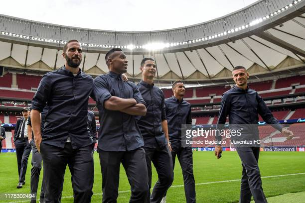 Juventus players Gonzalo Higuain Alex Sandro Cristiano Ronaldo Danilo and Merih Demiral at Estadio Wanda Metropolitano during the Champions League...