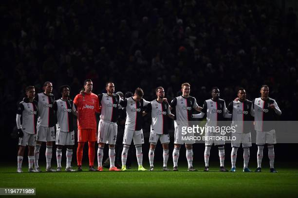 Juventus' players hold a minute of silence for former Italian footballer and Juventus player Pietro Anastasi who died on January 17 2020 aged 71...