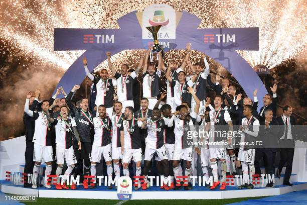 Juventus players holding the trophy after winning the Serie A Championship 20182019 at the end of the Serie A match between Juventus and Atalanta BC...