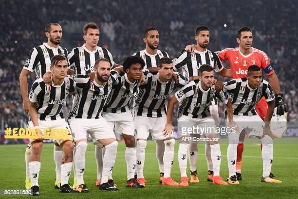 Juventus players Juventus' defender from Italy Giorgio Chiellini Juventus' forward from Croatia Mario Mandzukic Juventus' defender Medhi Benatia...