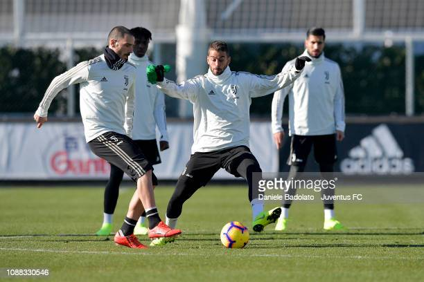 Juventus players Leonardo Bonucci and Leonardo Spinazzola during a training session at JTC on January 25 2019 in Turin Italy