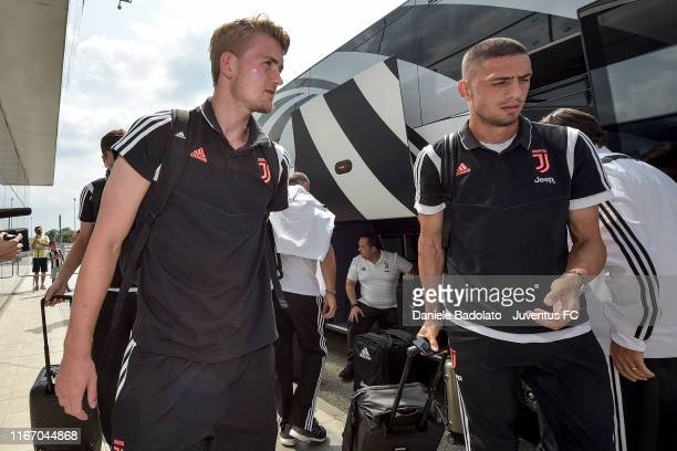 Juventus players Matthijs de Ligt and Merih Demiral travel to Stockholm on August 09 2019 in Turin Italy