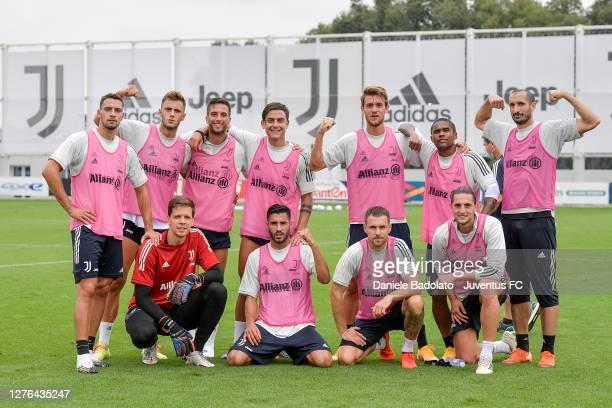 Juventus players Mattia De Sciglio, Giacomo Vrioni, Wojciech Szczesny, Rodrigo Bentancur, Paulo Dybala, Gianluca Frabotta, Daniele Rugani, Aaron...