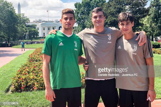Juventus players Mattia Del Favero Andrea Favilli and Pietro Beruatto walking next to the White House on August 4 2018 in Washington DC