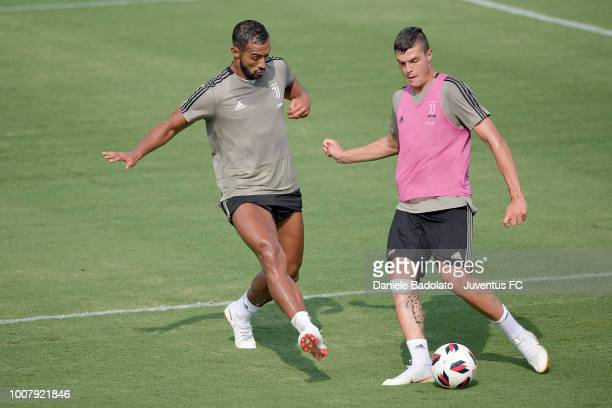 Juventus players Medhi Benatia and Andrea Favilli during a Juventus training session on July 30 2018 in Atlanta Georgia