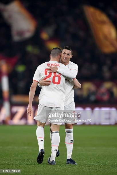 Juventus players Merih Demiral and Cristiano Ronaldo during the Serie A match between AS Roma and Juventus at Stadio Olimpico on January 12 2020 in...