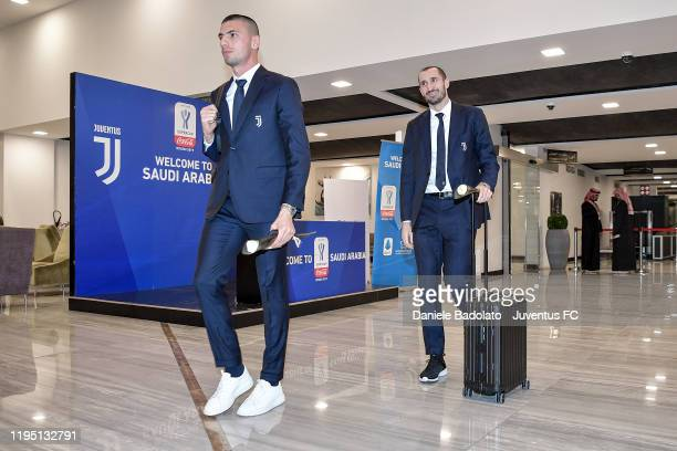 Juventus players Merih Demiral and Giorgio Chiellini arrival in Ryiad on December 20, 2019 in Riyadh, Saudi Arabia.