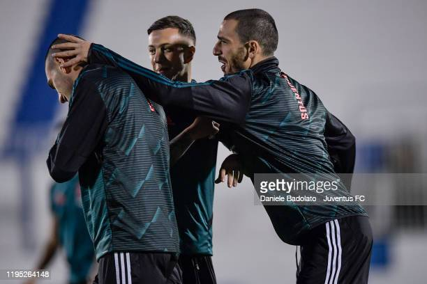 Juventus players Merih Demiral Federico Bernardeschi and Leonardo Bonucci during a training session on December 21 2019 in Riyadh Saudi Arabia