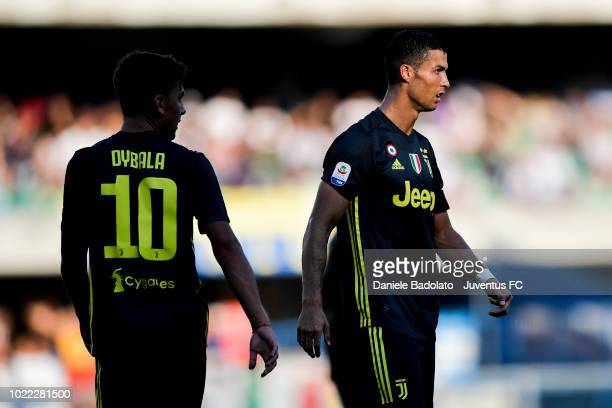 Juventus players Paulo Dybala and Cristiano Ronaldo in action during the serie A match between Chievo Verona and Juventus at Stadio Marc'Antonio...