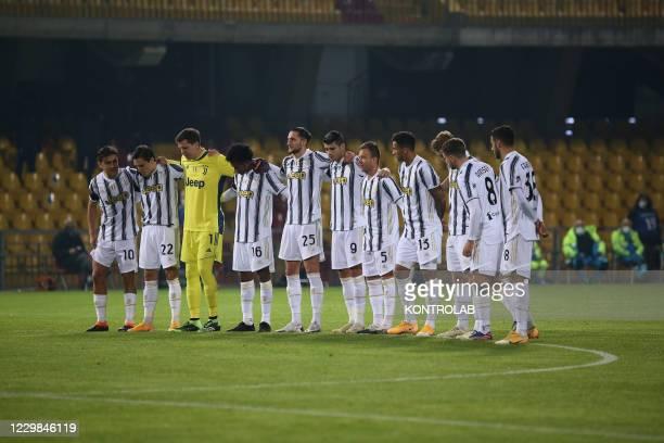 Juventus' players pay respects to football legend Diego Armando Maradona before the Serie A football match Benevento Calcio vs Juventus FC. Benevento...
