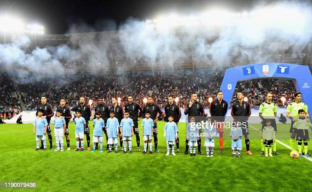 Juventus players pose before the Italian Supercup match between Juventus and SS Lazio at King Saud University Stadium on December 22 2019 in Riyadh...