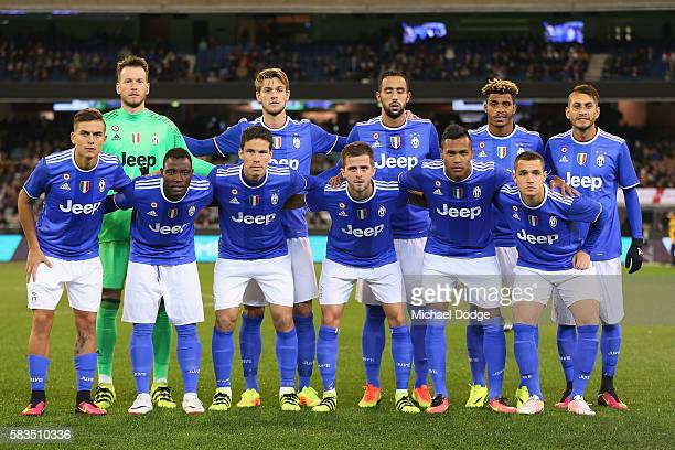 Juventus players pose during the 2016 International Champions Cup match between Juventus FC and Tottenham Hotspur at Melbourne Cricket Ground on July...