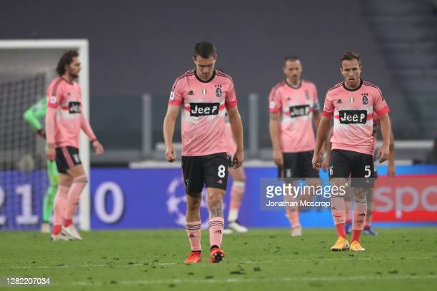 Juventus players react after conceeding a goal to Hellas Verona during the Serie A match between Juventus and Hellas Verona FC at Allianz Stadium on...