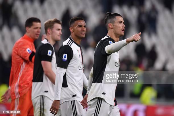 Juventus' Polish goalkeeper Wojciech Szczesny Juventus' Dutch defender Matthijs de Ligt Juventus' Brazilian defender Danilo and Juventus' Portuguese...