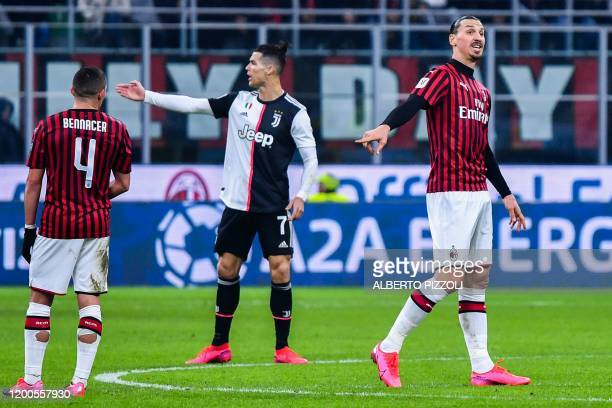 Juventus' Portuguese forward Cristiano Ronaldo and AC Milan's Swedish forward Zlatan Ibrahimovic react during the Italian Cup semifinal first leg...