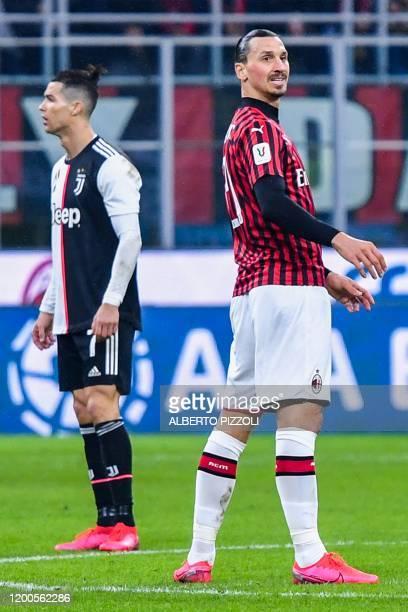 Juventus' Portuguese forward Cristiano Ronaldo and AC Milan's Swedish forward Zlatan Ibrahimovic react during the Italian Cup semifinal first leg...