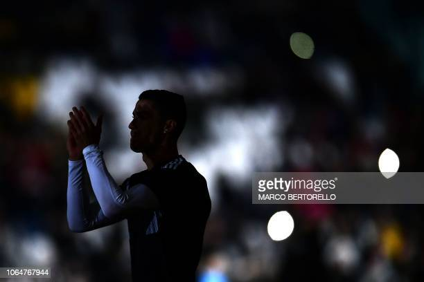 Juventus' Portuguese forward Cristiano Ronaldo applauds prior to the Italian Serie A football match Juventus vs Spal 2013 on November 24 2018 at the...