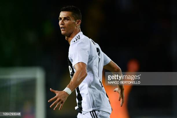 Juventus' Portuguese forward Cristiano Ronaldo celebrates after scoring a goal during the Italian Serie A football match between Empoli and Juventus...