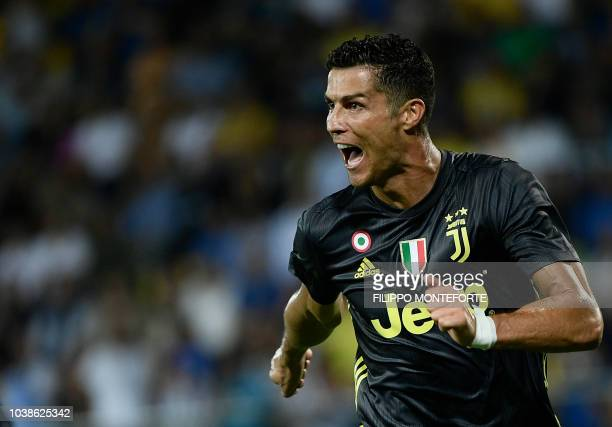 Juventus' Portuguese forward Cristiano Ronaldo celebrates after he scored during the Italian Serie A football match between Frosinone and Juventus...