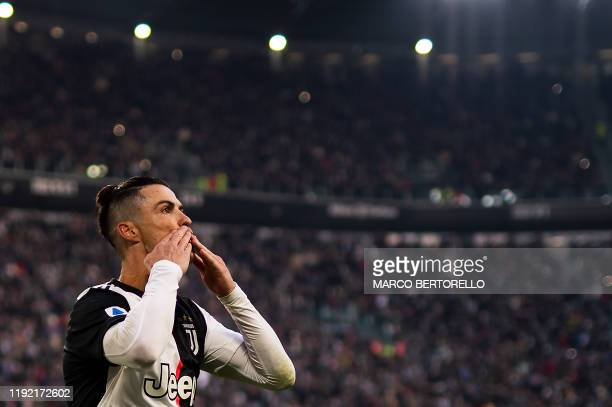 Juventus' Portuguese forward Cristiano Ronaldo celebrates after scoring his third goal during the Italian Serie A football match Juventus vs Cagliari...
