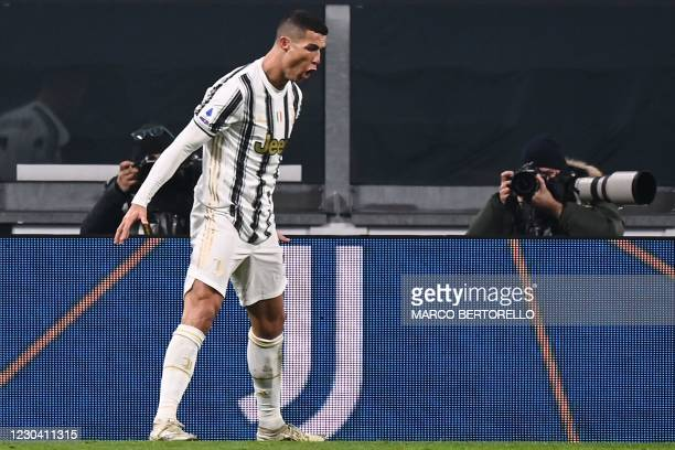 Juventus' Portuguese forward Cristiano Ronaldo celebrates after scoring his second goal during the Italian Serie A football match Juventus vs Udinese...