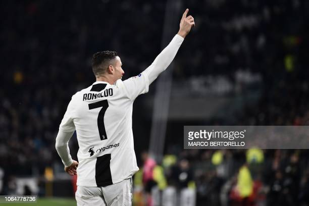 Juventus' Portuguese forward Cristiano Ronaldo celebrates after opening the scoring during the Italian Serie A football match Juventus vs Spal 2013...
