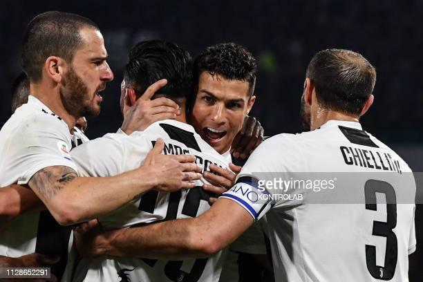 STADIUM NAPLES CAMPANIA ITALY Juventus' Portuguese forward Cristiano Ronaldo celebrates his side's second goal during the Italian Serie A football...
