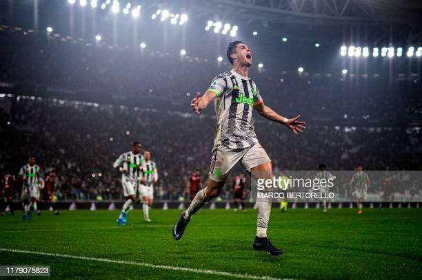 Juventus' Portuguese forward Cristiano Ronaldo celebrates scoring his team's second goal during the Italian Serie A football match between Juventus...