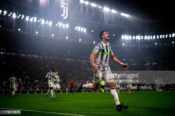 Juventus' Portuguese forward Cristiano Ronaldo celebrates scoring his team's second goal during the Italian Serie A football match between Juventus...