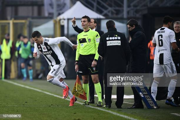 Juventus' Portuguese forward Cristiano Ronaldo enters the pitch to replace Juventus' German midfielder Sami Khedira during the Italian Serie A...